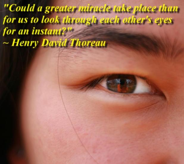 """""""Could a greater miracle take place than for us to look through each other's eyes for an instant?"""" ~ Henry David Thoreau"""