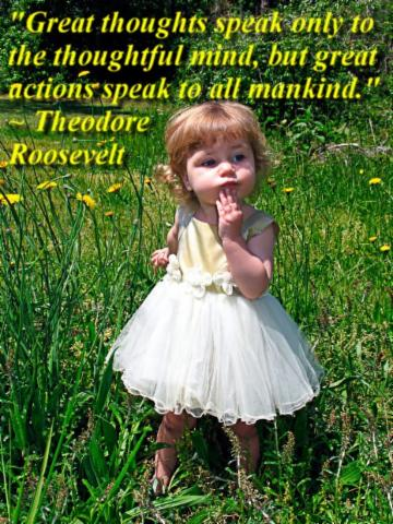 """""""Great thoughts speak only to the thoughtful mind, but great actions speak to all mankind."""" ~ Theodore Roosevelt"""