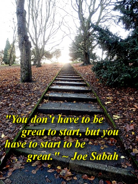 """""""You don't have to be great to start, but you have to start to be great."""" ~ Joe Sabah"""