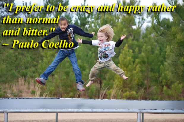 """""""I prefer to be crazy and happy rather than normal and bitter."""" ~ Paulo Coelho"""