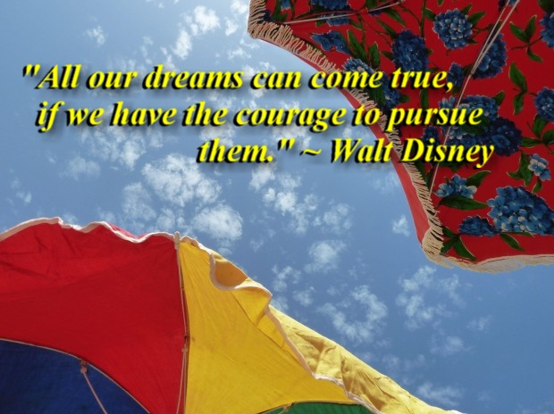 """""""All our dreams can come true, if we have the courage to pursue them."""" ~ Walt Disney"""