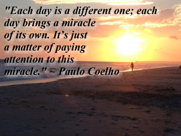 """""""Each day is a different one; each day brings a miracle of its own. It's just a matter of paying attention to this miracle."""" ~ Paulo Coelho"""