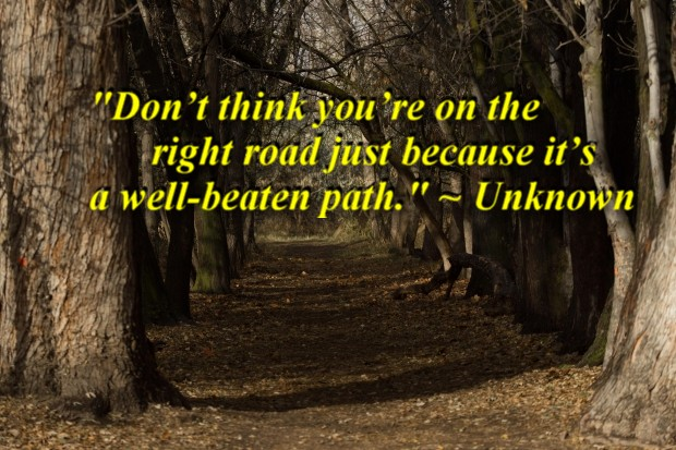 """""""Don't think you're on the right road just because it's a well-beaten path."""" ~ Unknown"""