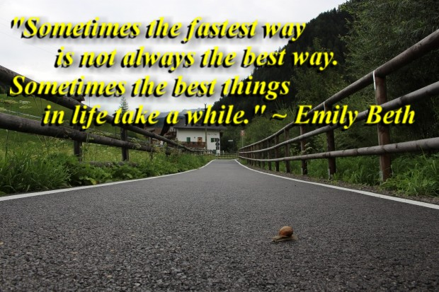 """""""Sometimes the fastest way is not always the best way. Sometimes the best things in life take a while."""" ~ Emily Beth"""